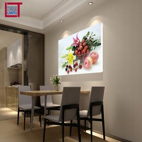 蓝图单幅餐厅壁画 水果蔬菜装饰画 花卉挂画 餐馆无框画 百合樱桃