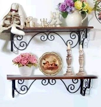 歐式鐵藝實木板墻上置物架壁掛墻壁客廳臥室隔板書架廚房擱板花架正品折扣