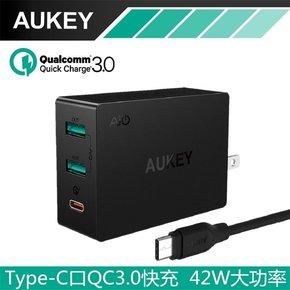 Aukey QC3.0快速充电器Type-C小米乐视2手机通用充电插头PA-Y4