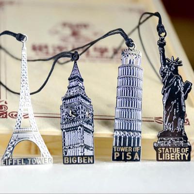 欧美四国复古建筑金属书签 大本钟/比萨斜塔/自由女神/铁塔