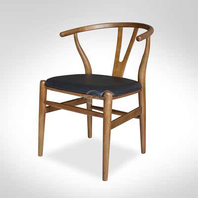 欧美复古咖啡厅西餐厅茶餐厅Y椅叉骨椅客厅书房椅子进口实木餐椅特价