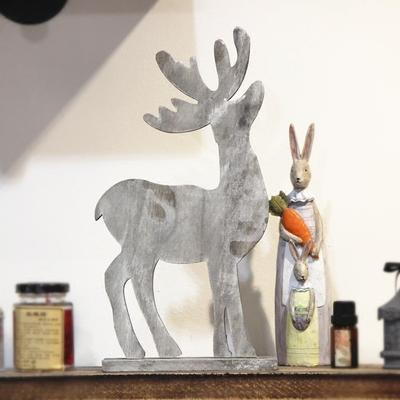 圣诞节做旧摆设装饰麋鹿 酒吧杂货铺店面橱窗 圣诞节装饰摆设布