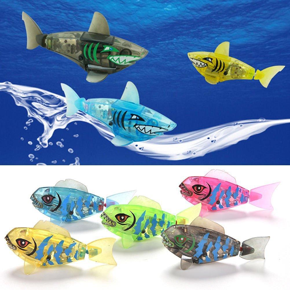 感应电子神奇灯光乐宝鱼会游泳的大头鱼鲨鱼游水鱼婴幼儿洗澡玩具