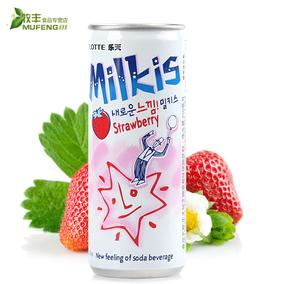 韩国进口lotte乐天妙之吻草莓牛奶味碳酸饮料250ml 果味苏打饮品