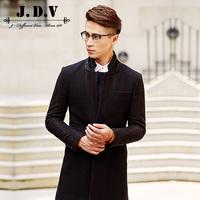 【清仓】JDV男装 男士黑色条纹修身拼接毛呢大衣男外套 WCO5012
