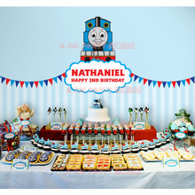 Thomas small train birthday posters, background wall decoration, custom year old baby feast, children's party products.