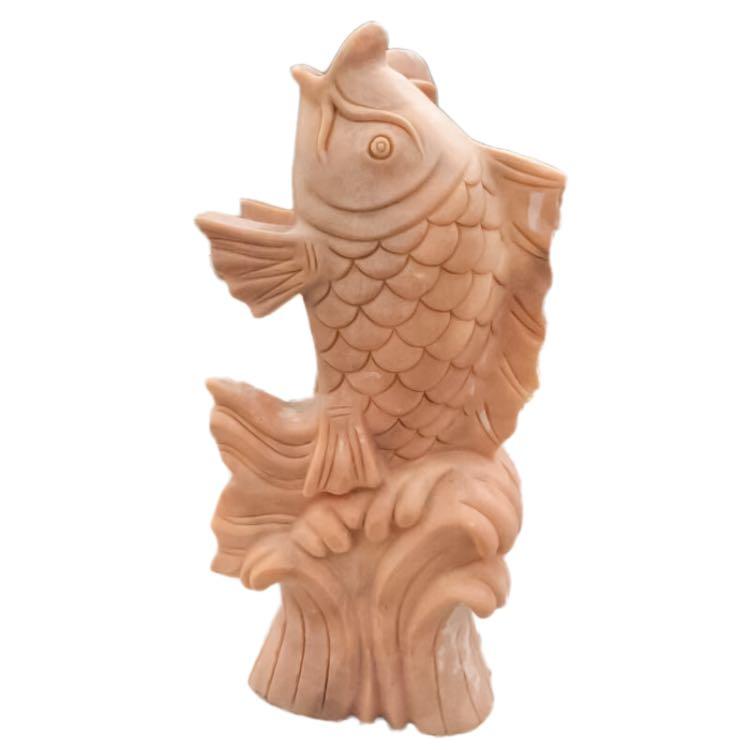石雕喷水鱼晚霞红大理石园林庭院雕塑天然花岗岩50高鲤鱼喷泉摆件