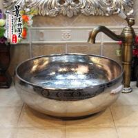 景德镇陶瓷洗脸盆台上盆面盆艺术盆洗手盆台盆水盆镀银暗花