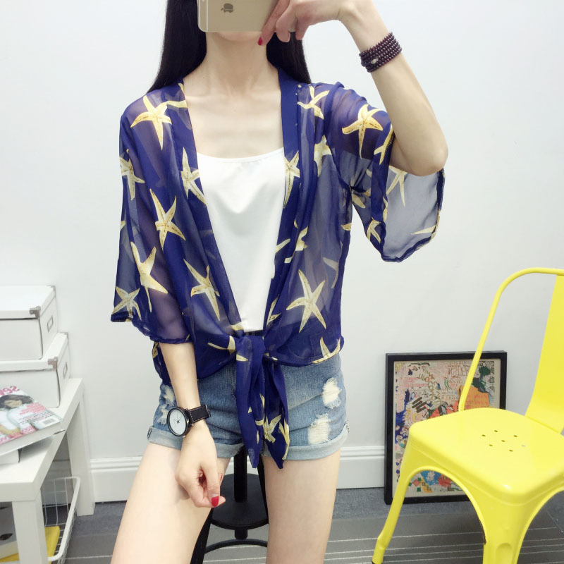 silk small shawl female thin coat sunscreen shirt five points sleeve wild silk Outside open