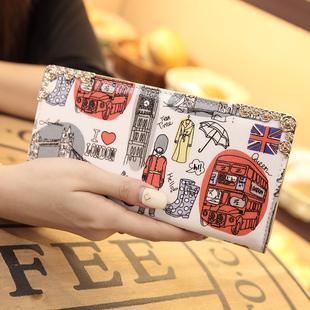 索爱2018新款韩版印花钱包时尚涂鸦长款钱包手机钱夹手拿零钱包女
