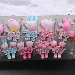 儿童发饰品小猪佩奇宝宝发夹女童粉红猪小妹佩佩猪鸭嘴夹头饰