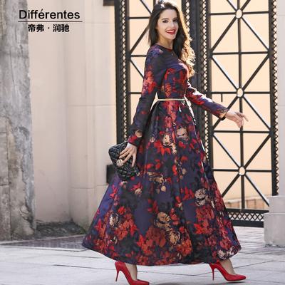 2018秋冬连衣裙长袖欧美风红色提花时尚气质大摆复古及踝长裙子女
