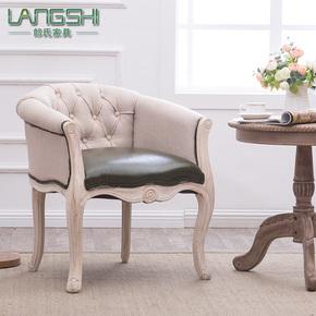 欧式复古实木书房椅美式皮布艺酒店餐椅休闲椅单人小沙发椅洽谈椅