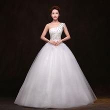 冬韩版 冬季款 齐地大码 单肩修身 2014新款 白色新娘结婚婚纱礼服显瘦