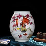 景德镇陶瓷器粉彩全家福公鸡花瓶手绘花瓶 客厅家居工艺品摆件