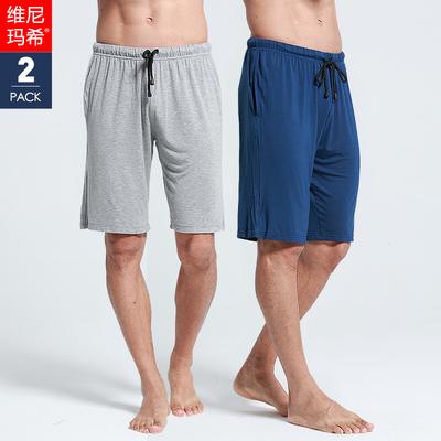 2件夏季莫代尔男士睡裤薄款五分短裤宽松家居裤男大码冰丝居家裤
