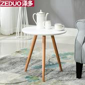 白色小圆桌子简约阳台小茶几洽谈休闲北欧现代沙发边几角几床边桌
