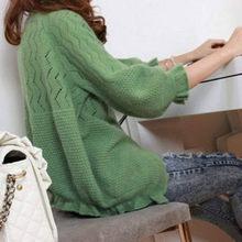 2014秋装新款 韩版百搭木耳边七分袖针织衫 女 开衫 短外套