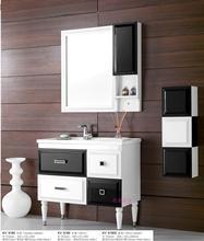 卡唯卫浴 黑白经典一体陶瓷洗手洗脸盆 橡木实木落地式浴室柜组合