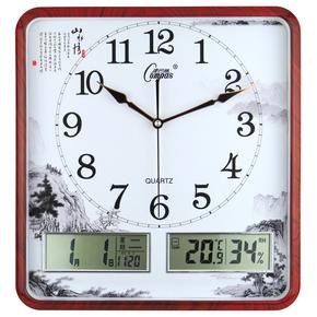康巴丝钟表电子挂钟新中式客厅创意长方形万年历中国风静音时钟
