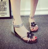 凉鞋女夏平底韩国罗马鞋夹脚防滑花朵简约夹趾凉拖鞋女夏平跟学生