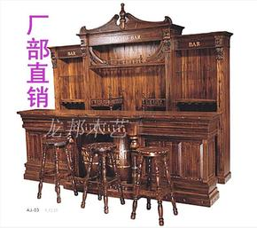 仿古大吧台桌防腐酒吧收银酒柜木质实木隔断柜家用吧台酒架前台