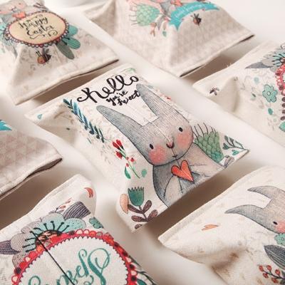 可爱兔子时尚棉麻抽纸袋手工布艺收纳盒餐厅茶几纸巾套车用纸巾套