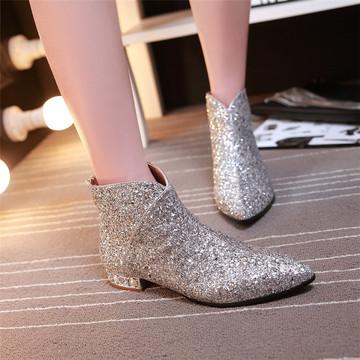 春秋季新款亮片尖头短筒马丁靴女平跟裸靴小跟短靴女银色单靴潮靴