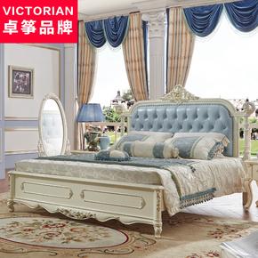 真皮床主卧欧式雕花1.8米储物双人床婚床榻榻米欧式床软床实木床