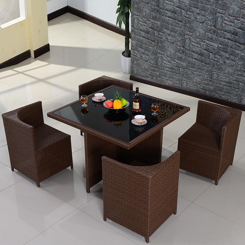 户外仿藤 阳台休闲家具桌椅组合套件花园藤编椅子五件套藤艺