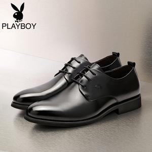 花花公子男鞋男士商务正装尖头皮鞋真皮黑色软底英伦系带软皮鞋子