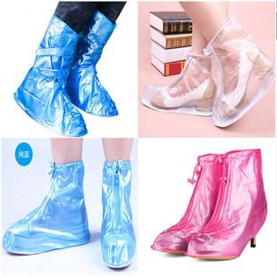 时尚防雨鞋套男女加厚耐磨防滑底雨鞋防水鞋套透明雨靴套便携高跟