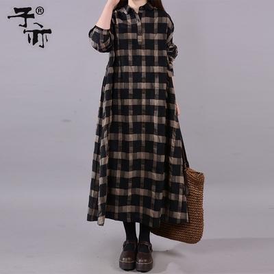 子亦2019春装新款女裙 韩版polo领宽松腰长袖休闲通勤连衣裙