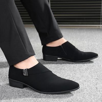 韩版潮流皮鞋英伦男士流行套脚休闲发型师鞋子磨砂皮透气尖头男鞋