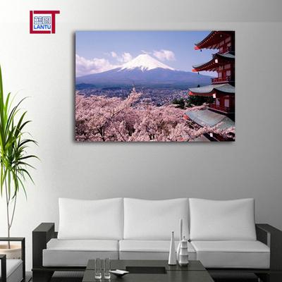 日本风景装饰画 日式料理寿司店壁画 餐厅酒店无框画 富士山樱花