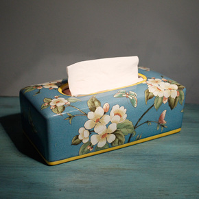 陶瓷手工彩绘纸巾盒茶几餐桌装饰品欧式奢华客厅抽纸盒 美式摆件