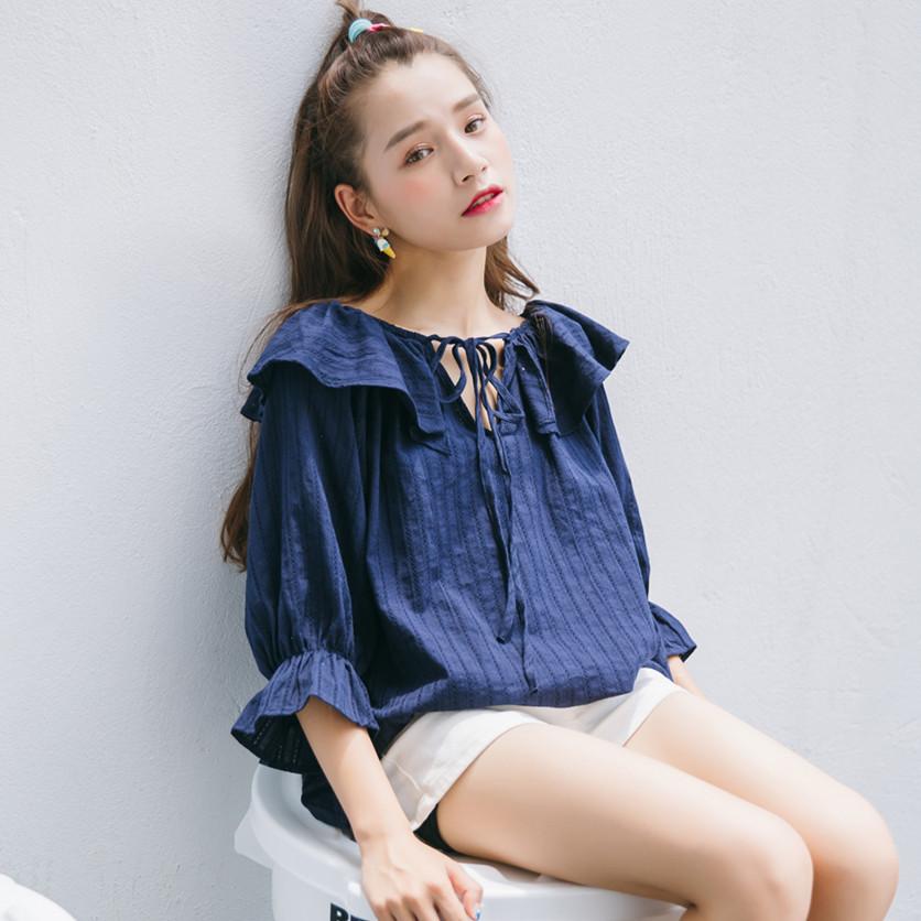 荷叶领衬衣韩国