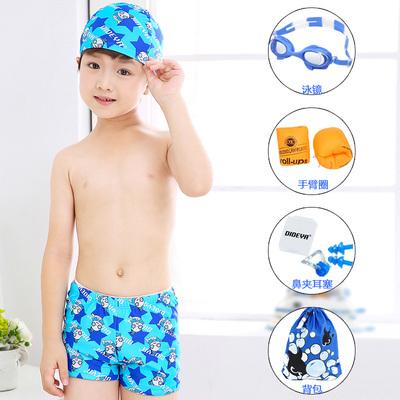 男童泳裤 中大童平角小男孩速干夏宝宝游泳衣泳帽套装 儿童游泳裤