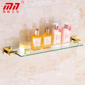 浴室玻璃台 置物架 铭耐卫浴全铜镀黄金色浴室化妆品夹 欧式3300