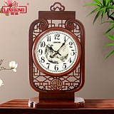 Lisheng new Chinese solid wood clock clock living room classical mute clock large table clock sitting clock antique art table clock