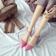韩版包头夏2017新款时尚凉鞋粉色甜美尖头女鞋细跟包跟高跟鞋