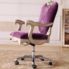 欧式转椅软包新古典实木书桌椅家用电脑椅布艺办公座椅书房椅子