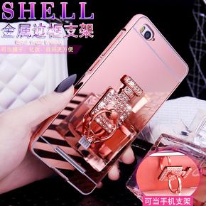 小米4c指环奢华镶钻金属边框后盖手机壳保护套女款白色玖瑰土豪金