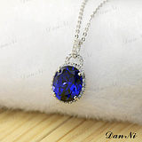 Sapphire pendant 925 silver plated 18K white gold set Kravantan mulberry jewelry necklace women's