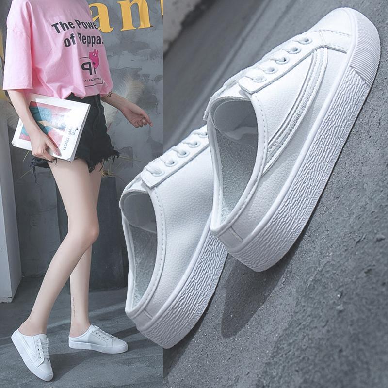 无后跟拖鞋女2018夏季新款学生韩版ulzzang一脚蹬懒人半拖小白鞋