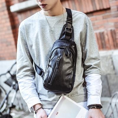 新款休闲胸包男韩版腰包皮质小包包男士斜挎包单肩包运动背包潮包