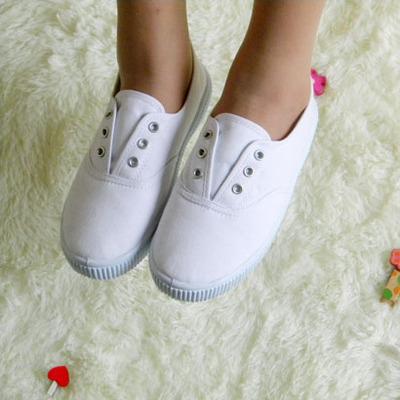 幼儿园小白鞋学生白球鞋儿童白布鞋男女童单鞋舞蹈鞋帆布鞋武术鞋