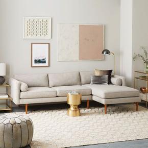 北欧样板房间沙发简约现代客厅小户型棉麻布艺乳胶三人位转角家具