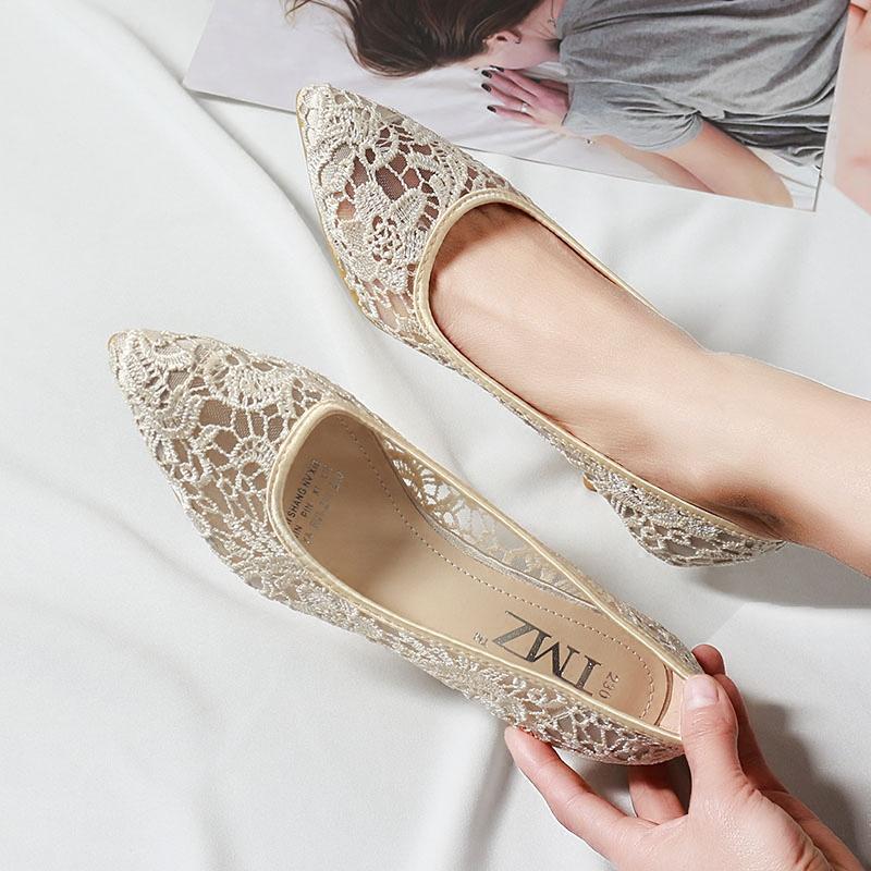 大码蕾丝高跟鞋
