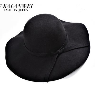 礼帽女英伦复古欧美大檐百搭爵士帽韩版光板毛呢帽夏季遮阳毛毡帽